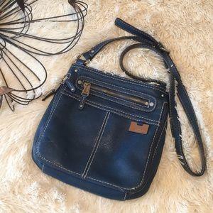 Tignanello Blue Leather Crossbody Organizer Purse